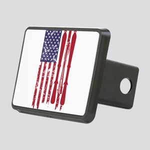 US flag with skis and ski Rectangular Hitch Cover