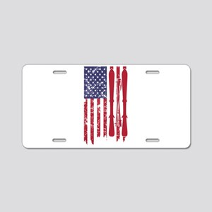 US flag with skis and ski p Aluminum License Plate