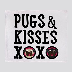 Pugs & Kisses Black Text Stacked Throw Blanket