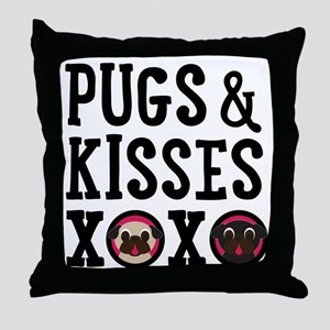 Pugs & Kisses Black Text Stacked Throw Pillow