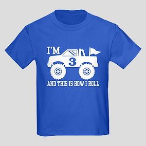 3rd Birthday Monster Truck Kids Dark T-Shirt