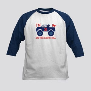 3rd Birthday Monster Truck Kids Baseball Jersey