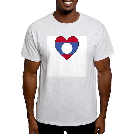 Laotian Flag Heart Valentine Ash Grey T-Shirt