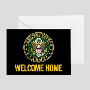 U.S. Army: Welcome Home (Black & Gol Greeting Card