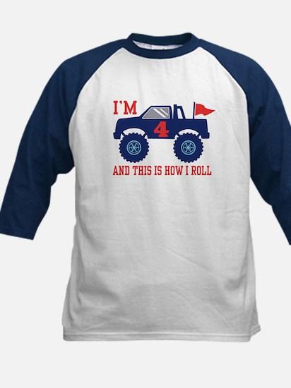 4th Birthday Monster Truck Kids Baseball Jersey