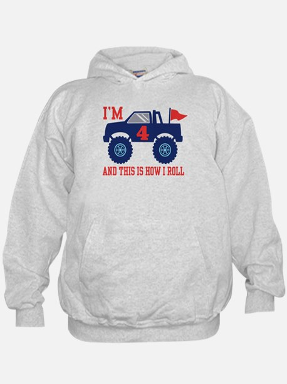 4th Birthday Monster Truck Hoodie