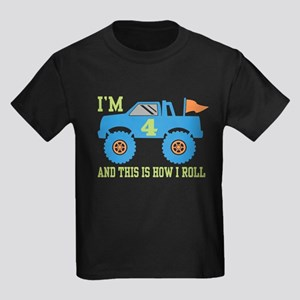 4th Birthday Monster Truck Kids Dark T-Shirt