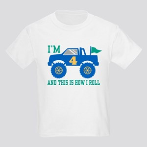 4th Birthday Monster Truck Kids Light T-Shirt