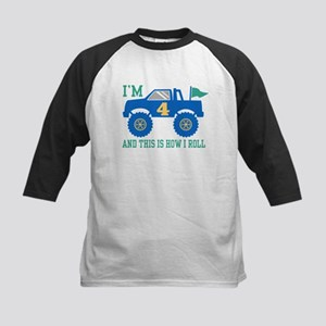 4th Birthday Monster Truck Kids Baseball Jersey