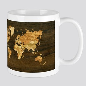 Wooden World Map Mugs
