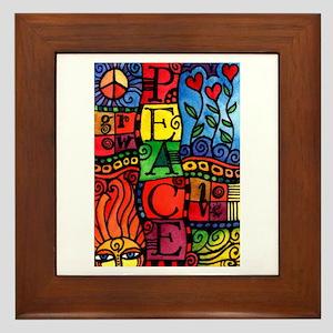 Peace, Love, Grow Framed Tile