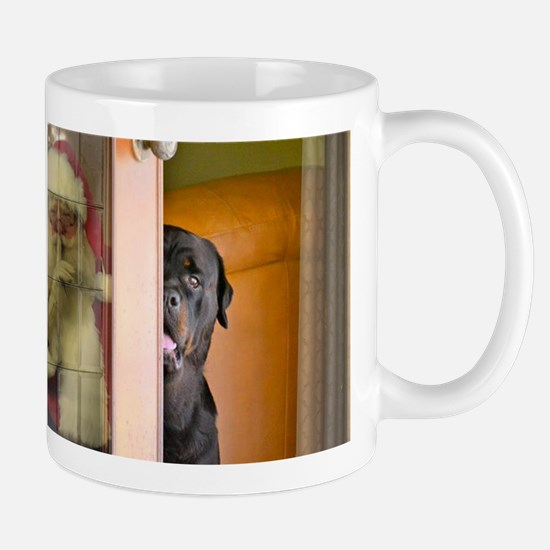 Rottweiler Spying on Santa Mug