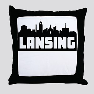 Lansing Michigan Skyline Throw Pillow