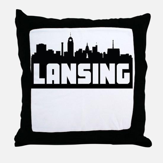 Lansing Michigan Skyline Throw Pillow