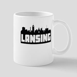 Lansing Michigan Skyline Mugs