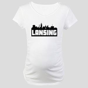 Lansing Michigan Skyline Maternity T-Shirt