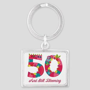 Blooming 50th Birthday Landscape Keychain