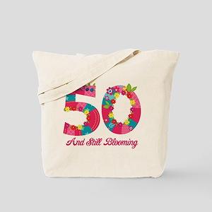 Blooming 50th Birthday Tote Bag