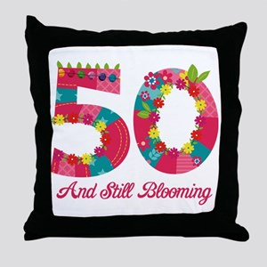 Blooming 50th Birthday Throw Pillow