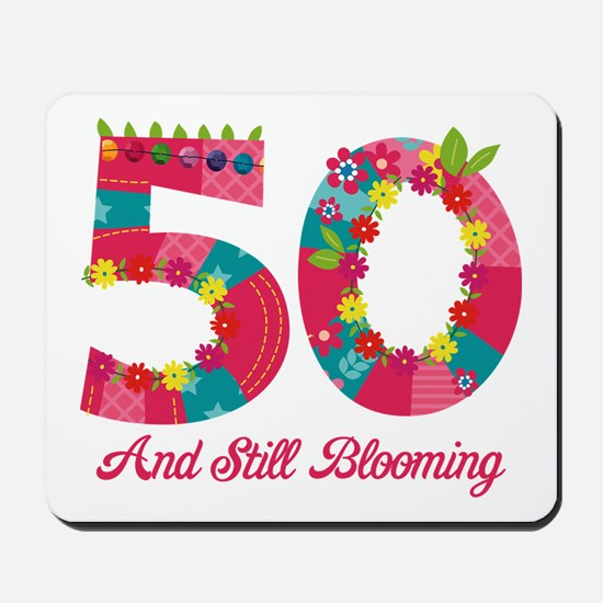 Blooming 50th Birthday Mousepad