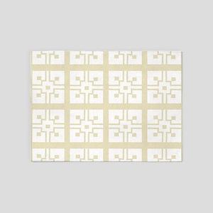 Vintage Eggshell French Tile 5'x7'Area Rug