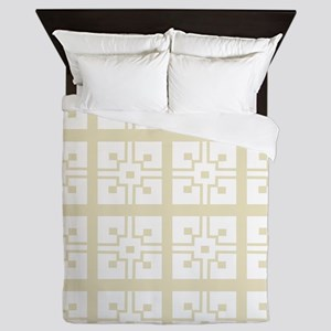 Vintage Eggshell French Tile Queen Duvet
