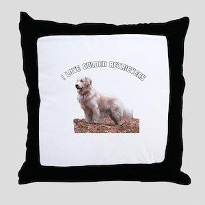 I Love Golden Retrievers Throw Pillow