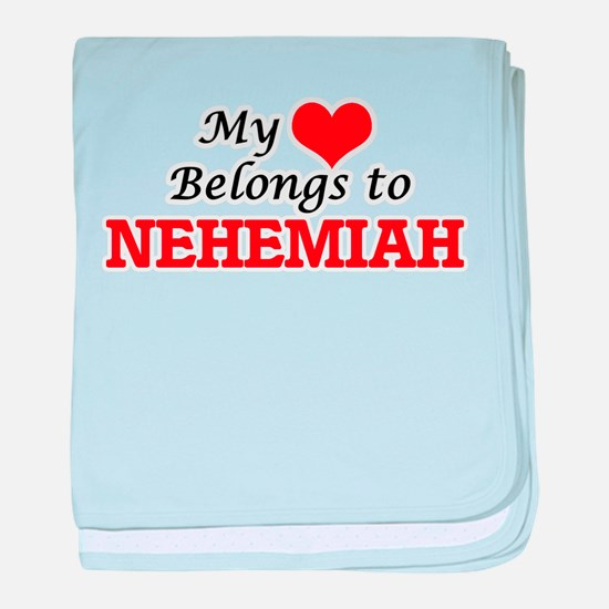 My heart belongs to Nehemiah baby blanket