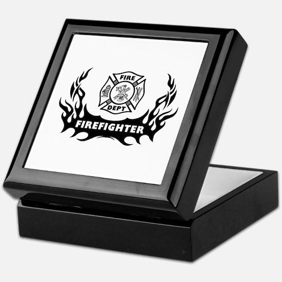Fire Dept Firefighter Tattoos Keepsake Box