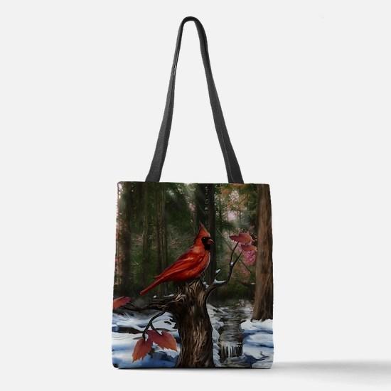 cardinal bird art Polyester Tote Bag