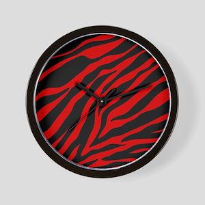 red zebra Wall Clock
