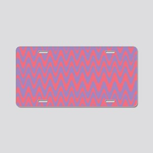 Pink and purple wavy lines Aluminum License Plate