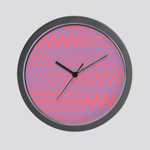 Pink and purple wavy lines pattern Wall Clock