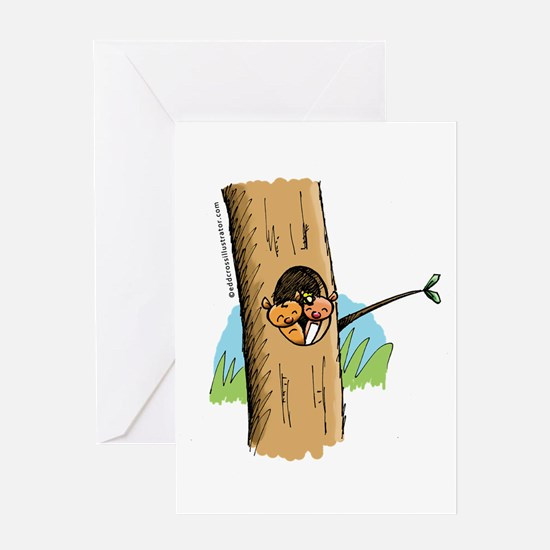 Possums in Tree cute illustration Greeting Cards