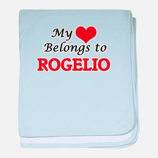 My heart belongs to Rogelio baby blanket