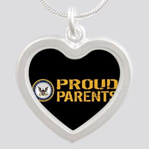 U.S. Navy: Proud Parents (Bl Silver Heart Necklace