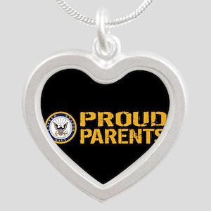 U.S. Navy: Proud Parents (Bl Silver Heart Necklace
