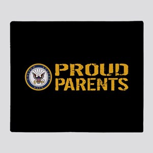 U.S. Navy: Proud Parents (Black & Go Throw Blanket