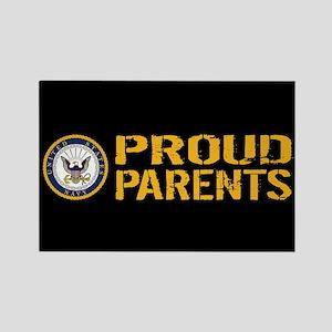 U.S. Navy: Proud Parents (Black & Rectangle Magnet