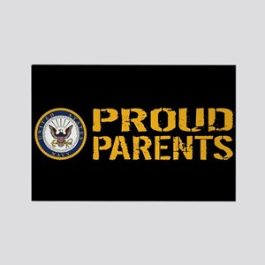 U.S. Navy: Proud Parents (Black & Rectangle Magnet