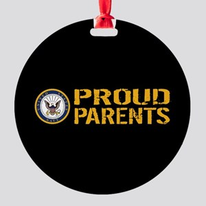 U.S. Navy: Proud Parents (Black & G Round Ornament