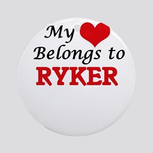 My heart belongs to Ryker Round Ornament