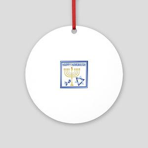 Happy Hanukkah Round Ornament