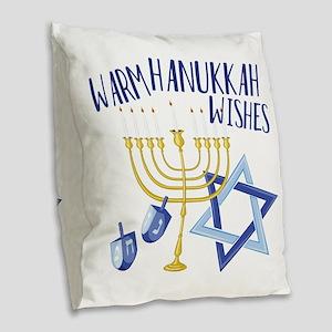 Hanukkah Wishes Burlap Throw Pillow