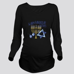 Hanukkah Wishes Long Sleeve Maternity T-Shirt