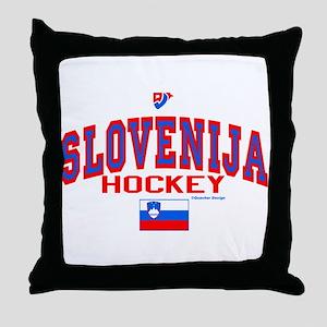 SI Slovenija(Slovenia) Hockey Throw Pillow