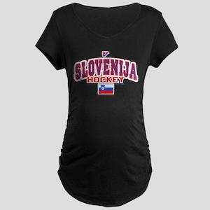 SI Slovenija(Slovenia) Hockey Maternity Dark T-Shi