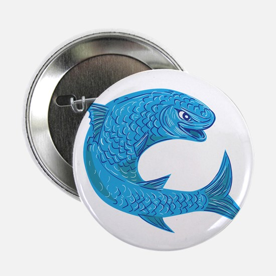 "Grey Mullet Jumping Drawing 2.25"" Button (10 pack)"