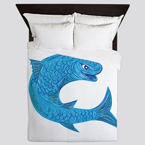 Grey Mullet Jumping Drawing Queen Duvet