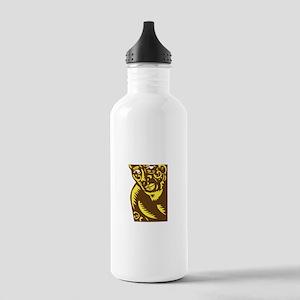Tagaloa Peeking Woodcut Water Bottle